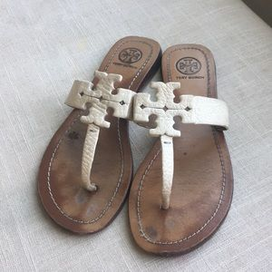Tory Burch Moore Logo Leather Sandals White Summer